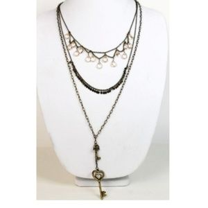 Designer Inspired Long 3 Layer Chain Necklace